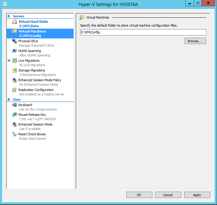 Connect Hyper-V 2016 VM settings