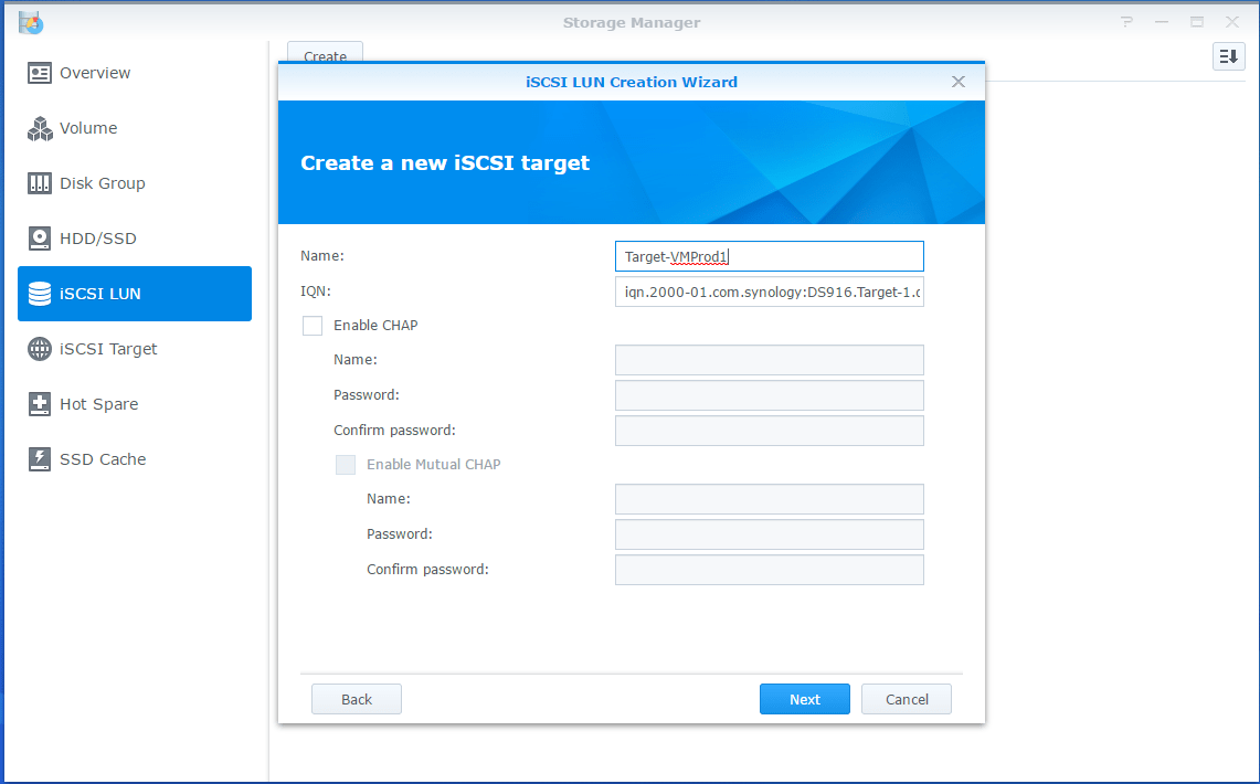 Synology LUN new iSCSI target