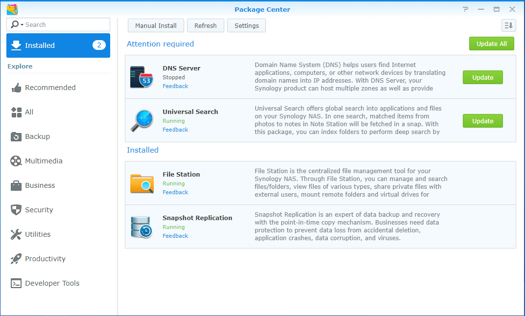 Update Synology Package Center