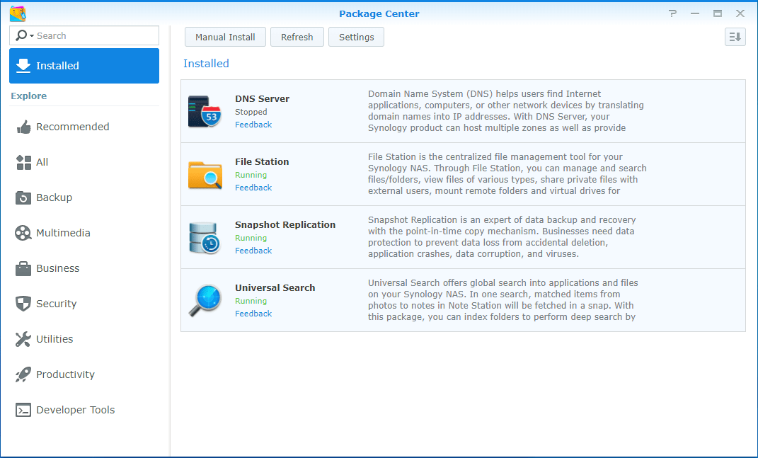 Update Synology Package update