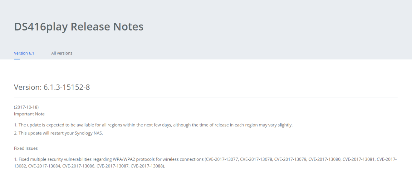 Update Synology Release Notes