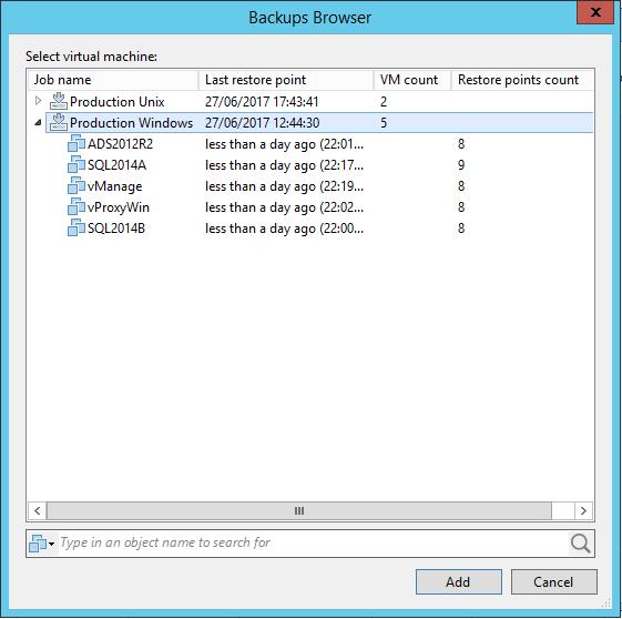 Veeam Backup Copy Job Browser