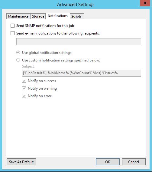 Veeam Backup Copy Job Notification