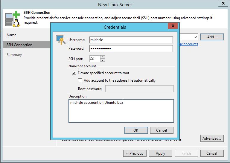 Linux Backup Server ssh credentials