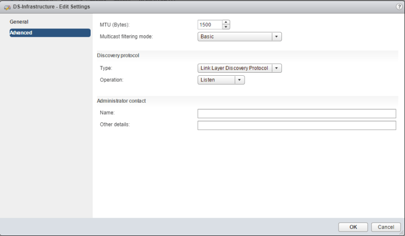 create virtual distributed switches edit vDS advanced settings