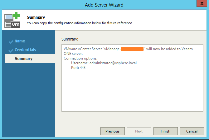 Veeam One Monitor add server summary