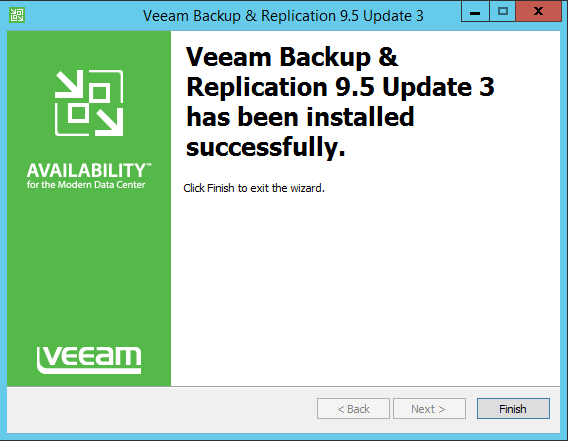Upgrade Veeam Backup complete