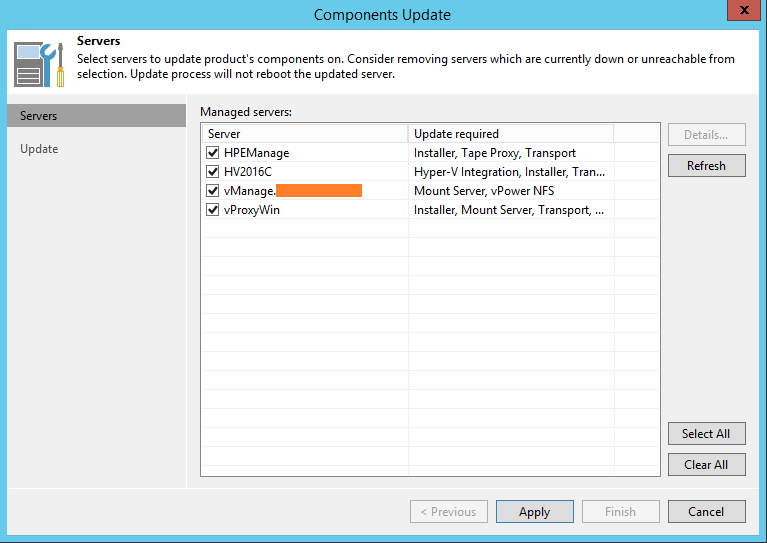 Upgrade Veeam Backup components selection