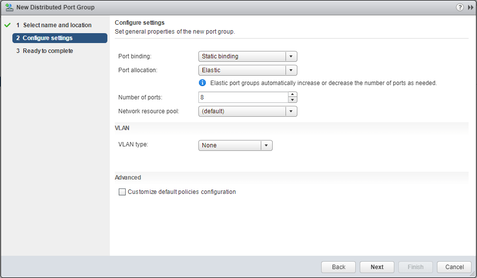 Distributed Port Groups settings