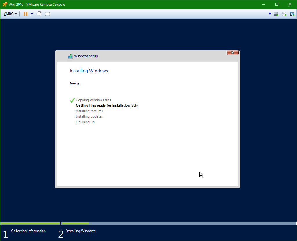 domalab.com Install Windows Server 2016 install progress