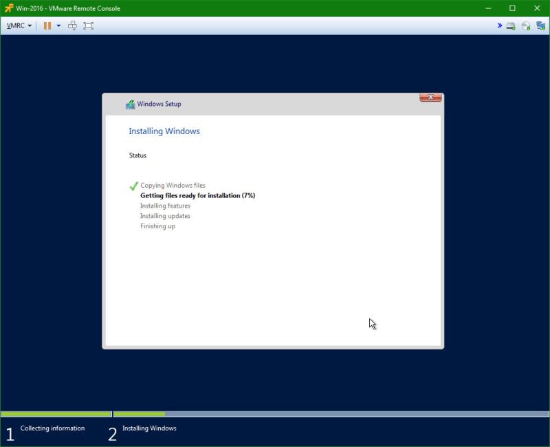 domalab.com Install Windows Server 2016 install progress