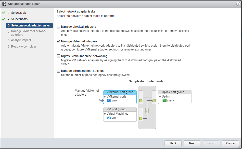Migrate VMkernel manage adapters