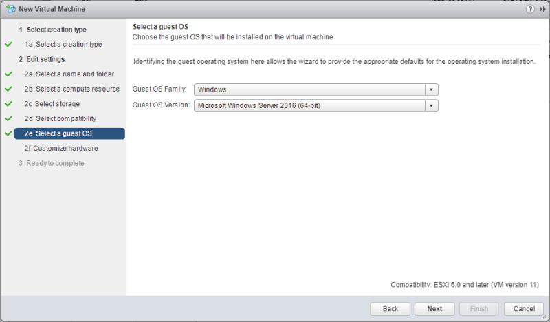 Windows Server 2016 vmware OS family