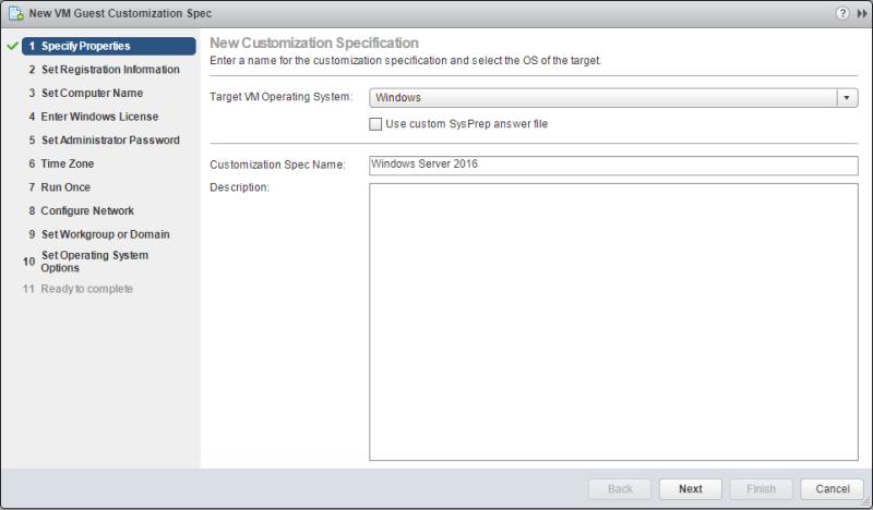 domalab.com VMware Custom Specification windows