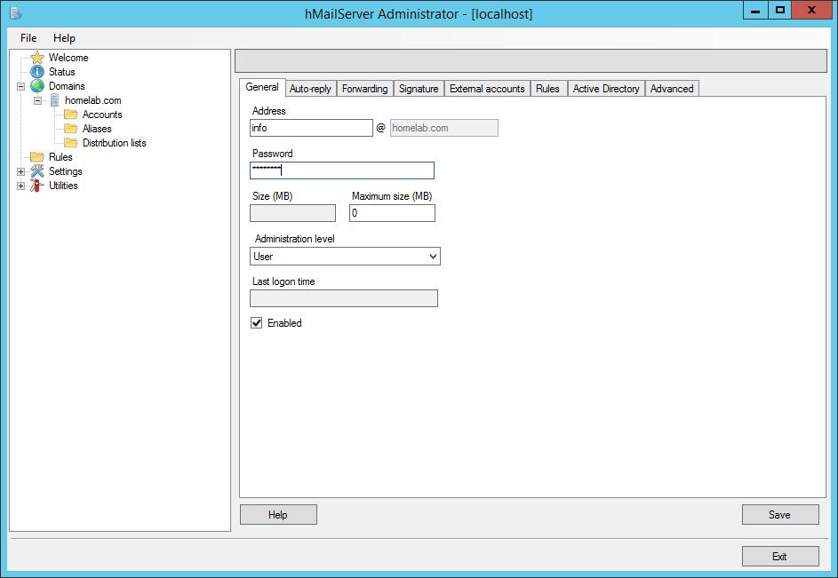 domalab.com Configure hMailServer create recipient
