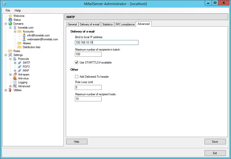 domalab.com Configure hMailServer local IP