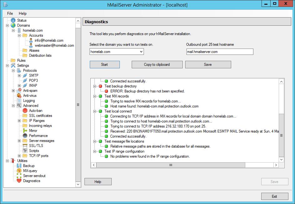 domalab.com Configure hMailServer diagnostic