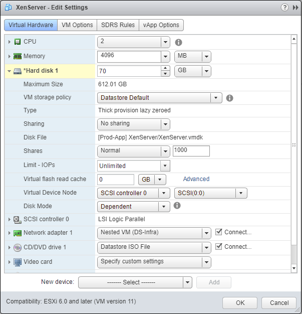 domalab.com nested XenServer configure hard disk