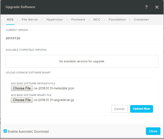 domalab.com Upgrade Nutanix choose AOS file