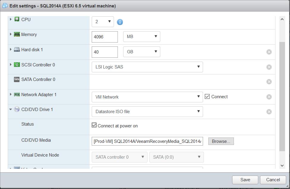 domalab.com Veeam Recovery Media attach ISO VMware