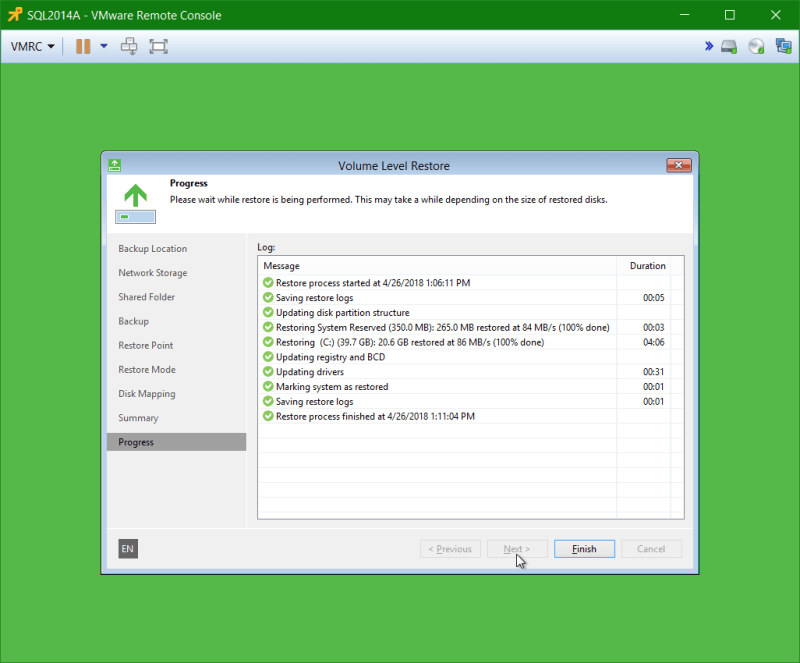 domalab.com Veeam Recovery Media restore complete