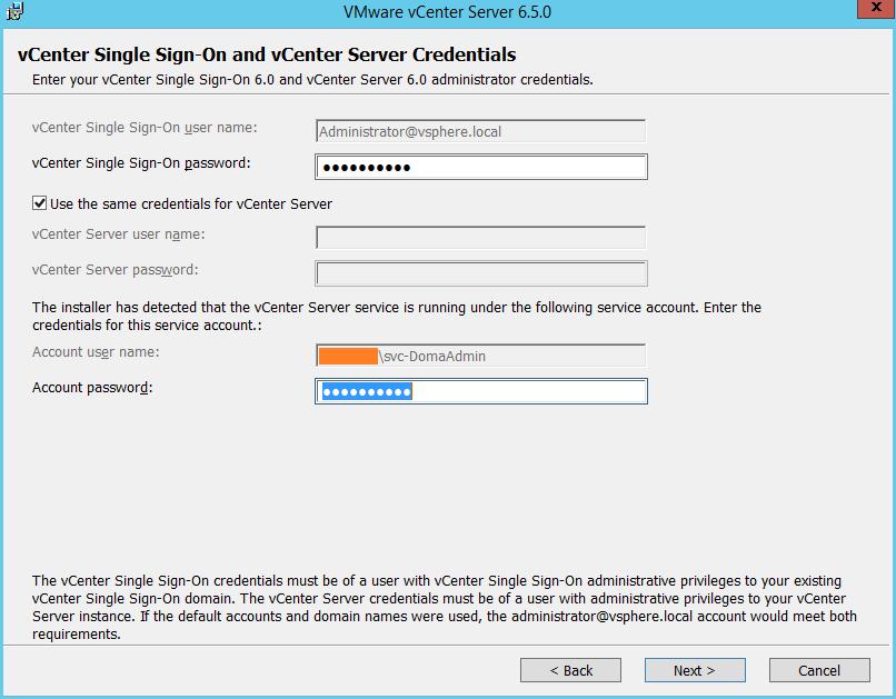Domalab.com vCenter Upgrade SSO credentials