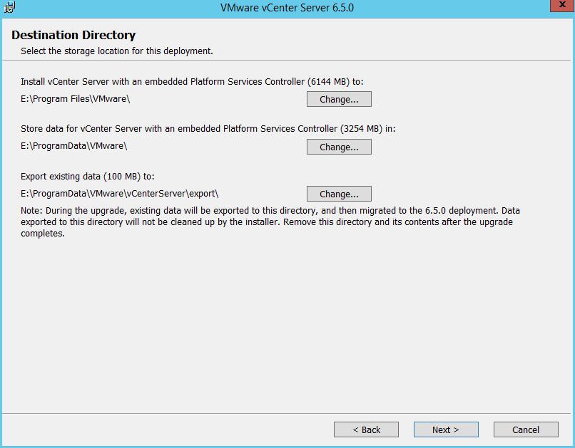 Domalab.com vCenter Upgrade destination directory