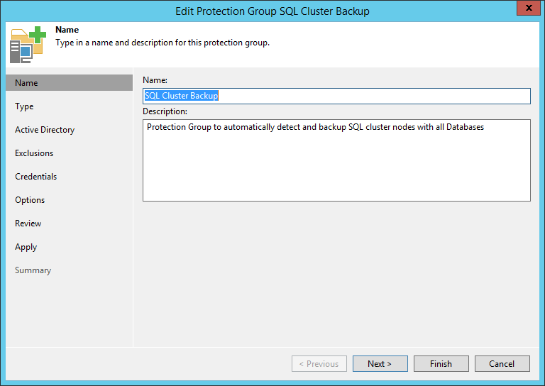domalab.com Backup SQL cluster Create Protection Group