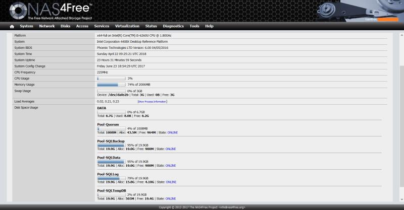 domalab.com NAS4Free Pool storage list