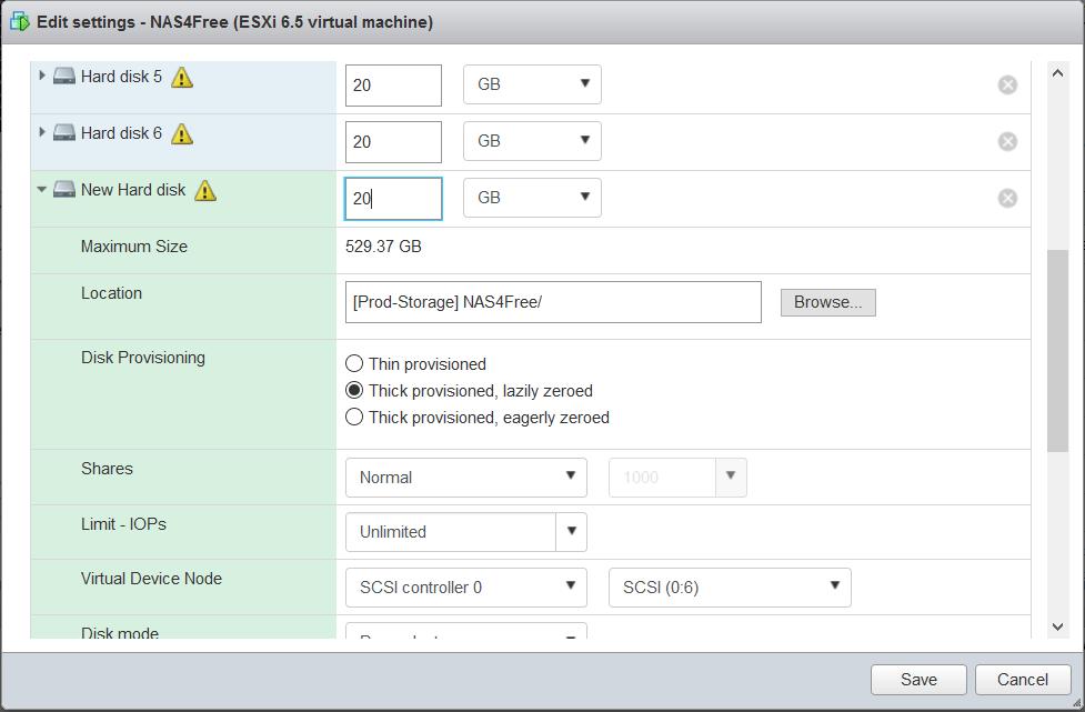 domalab.com NAS4Free Pool storage add virtual disk VMware