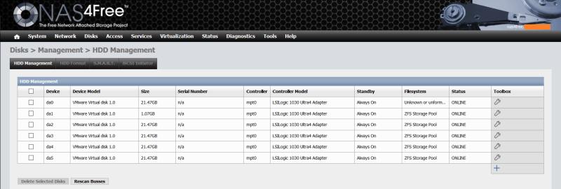 domalab.com NAS4Free Pool storage HDD management
