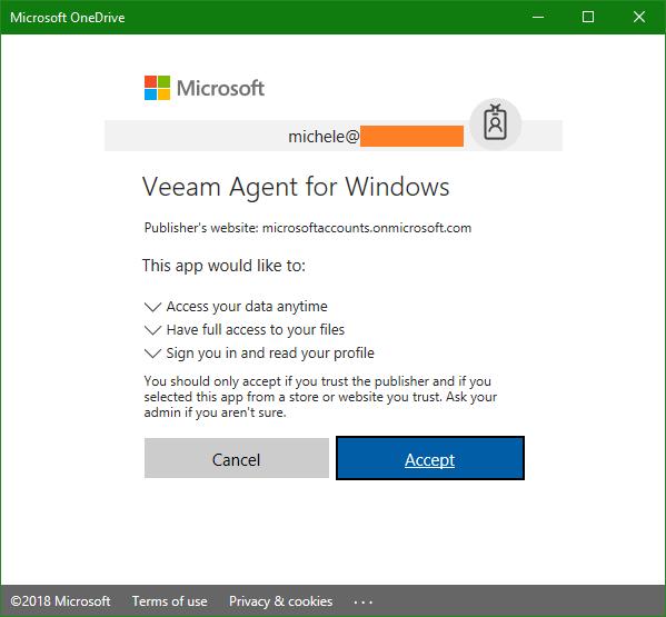 domalab.com OneDrive Windows Backup account authorization