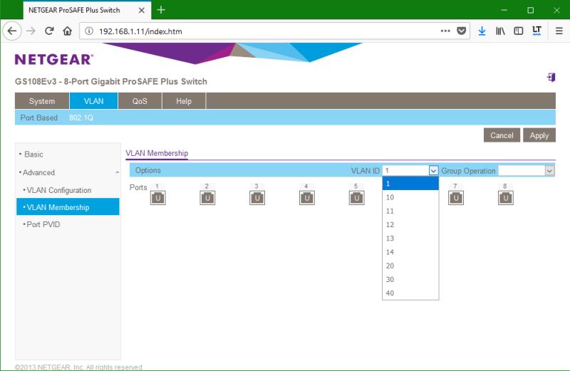 domalab.com netgear Vlan membership select