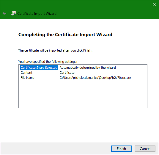 domalab.com Trusted Root CA Certificate wizard complete