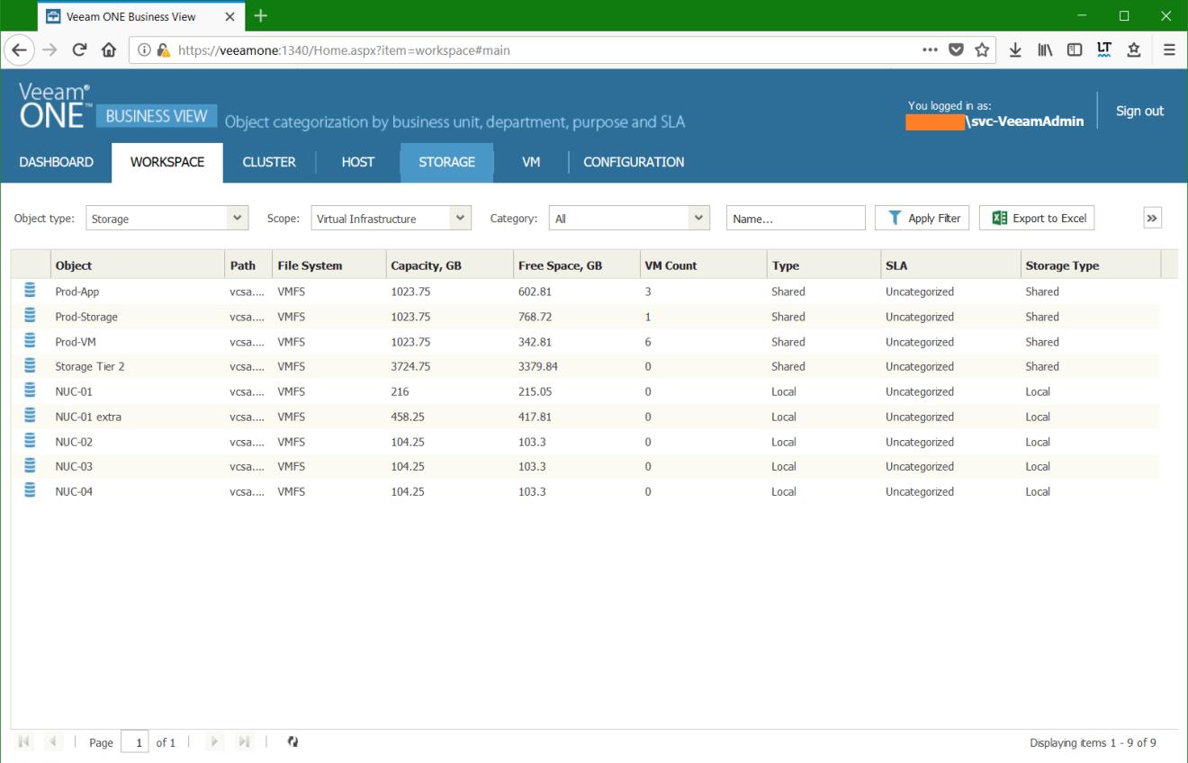 domalab.com Manage vSphere Tags Veeam One Storage View