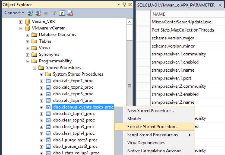 domalab.com shrink vCenter database stored procedures