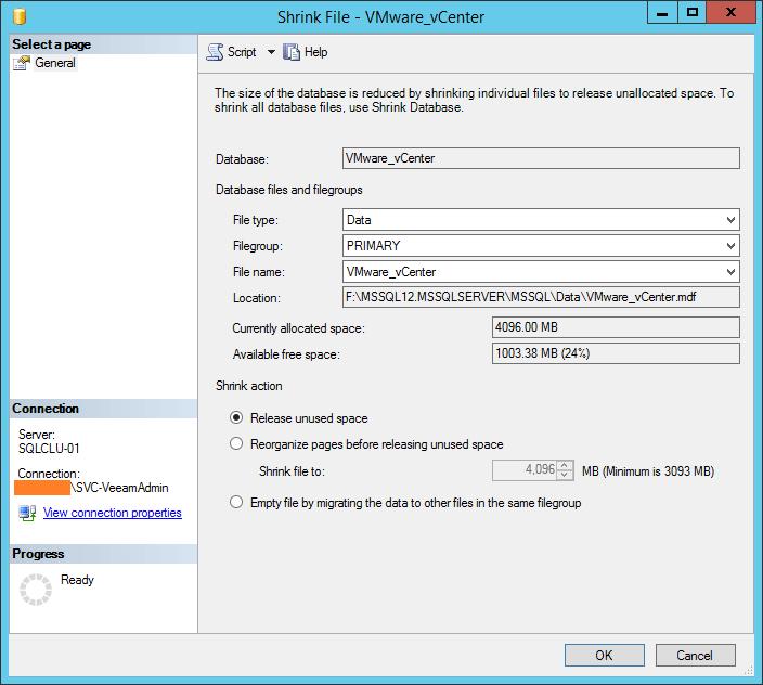 domalab.com shrink vCenter database data file