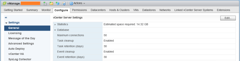 domalab.com shrink vCenter database settings
