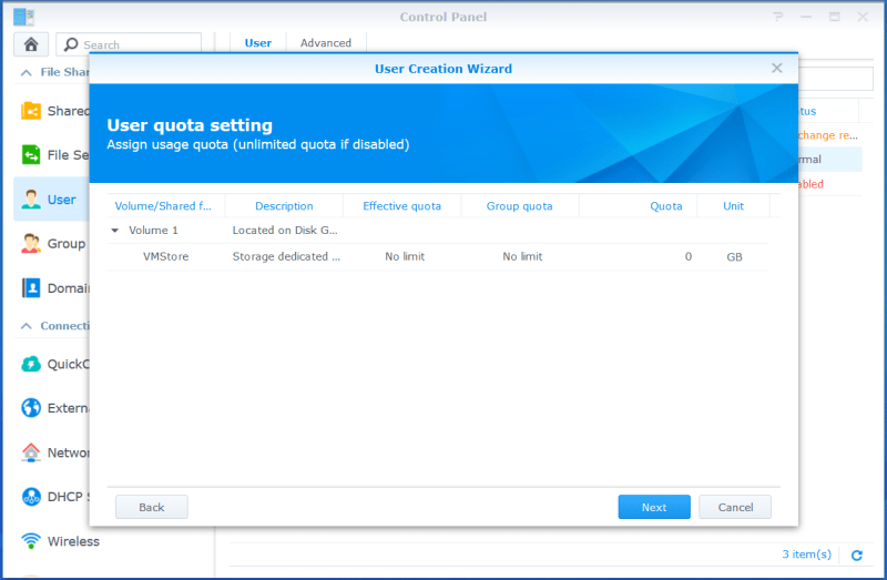 domalab.com VMware VCSA Backup synology quota setting