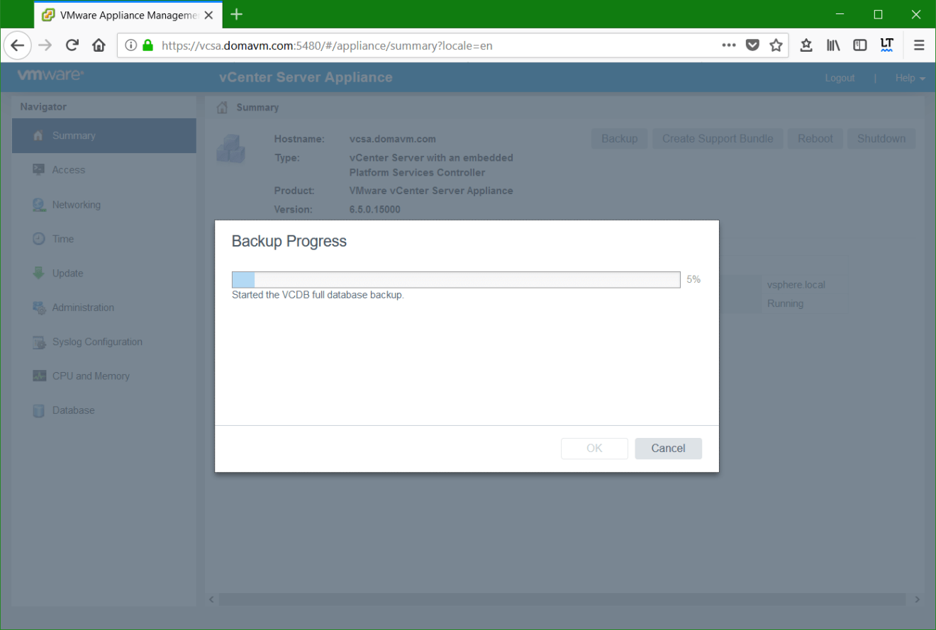 domalab.com VMware VCSA Backup progress