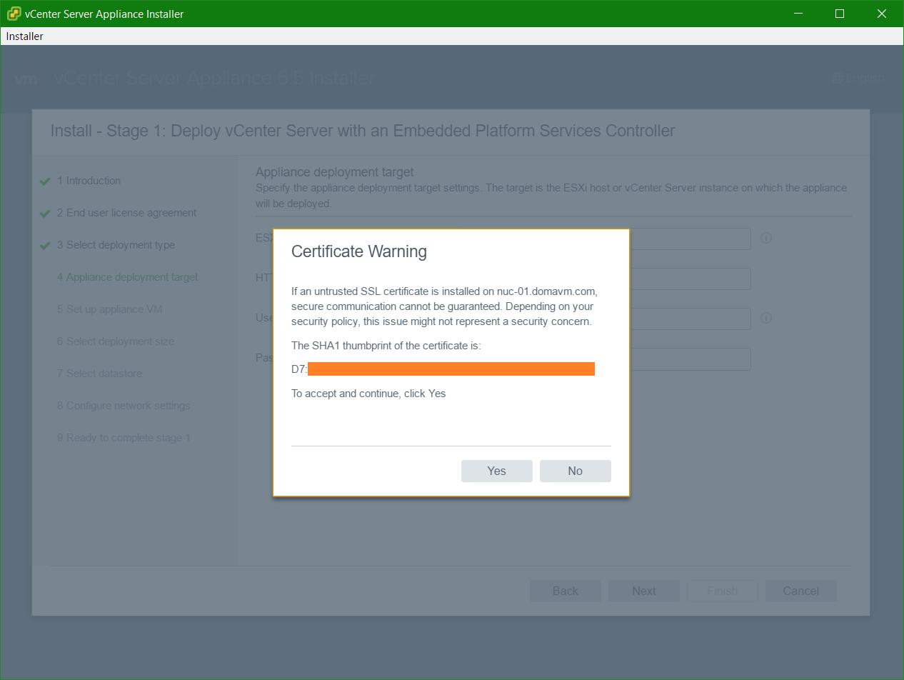 domalab.com VCSA install Host certificate