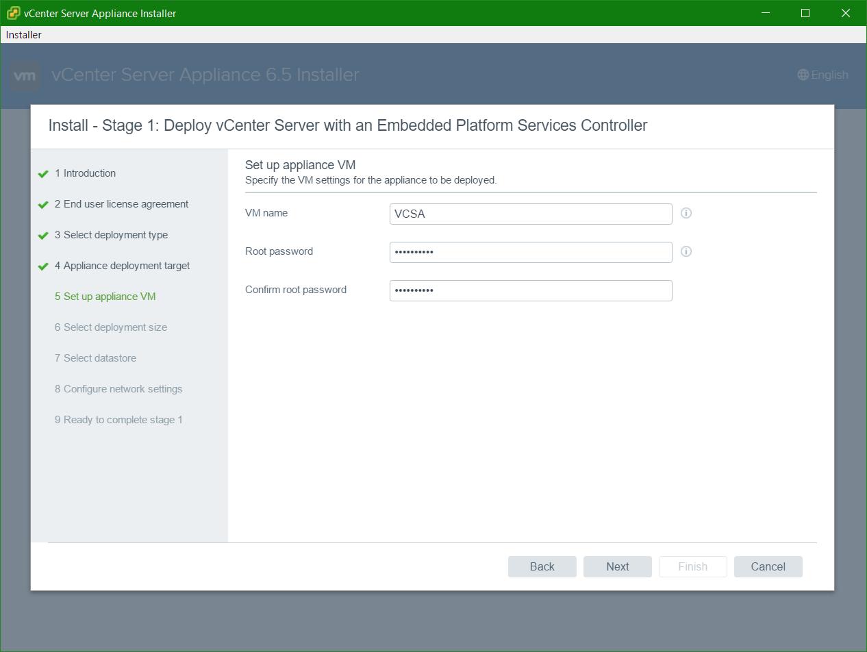 domalab.com VCSA install Applianace VM name