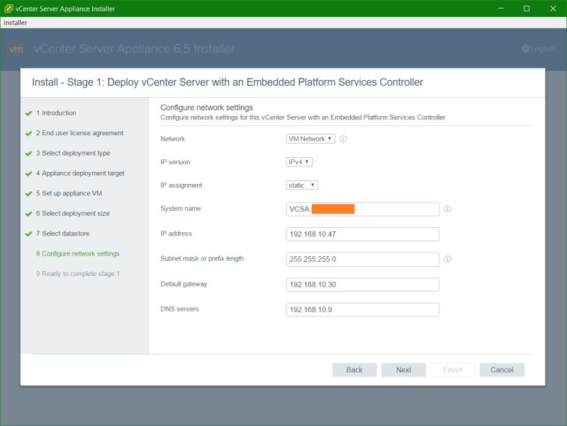domalab.com VCSA install network settings