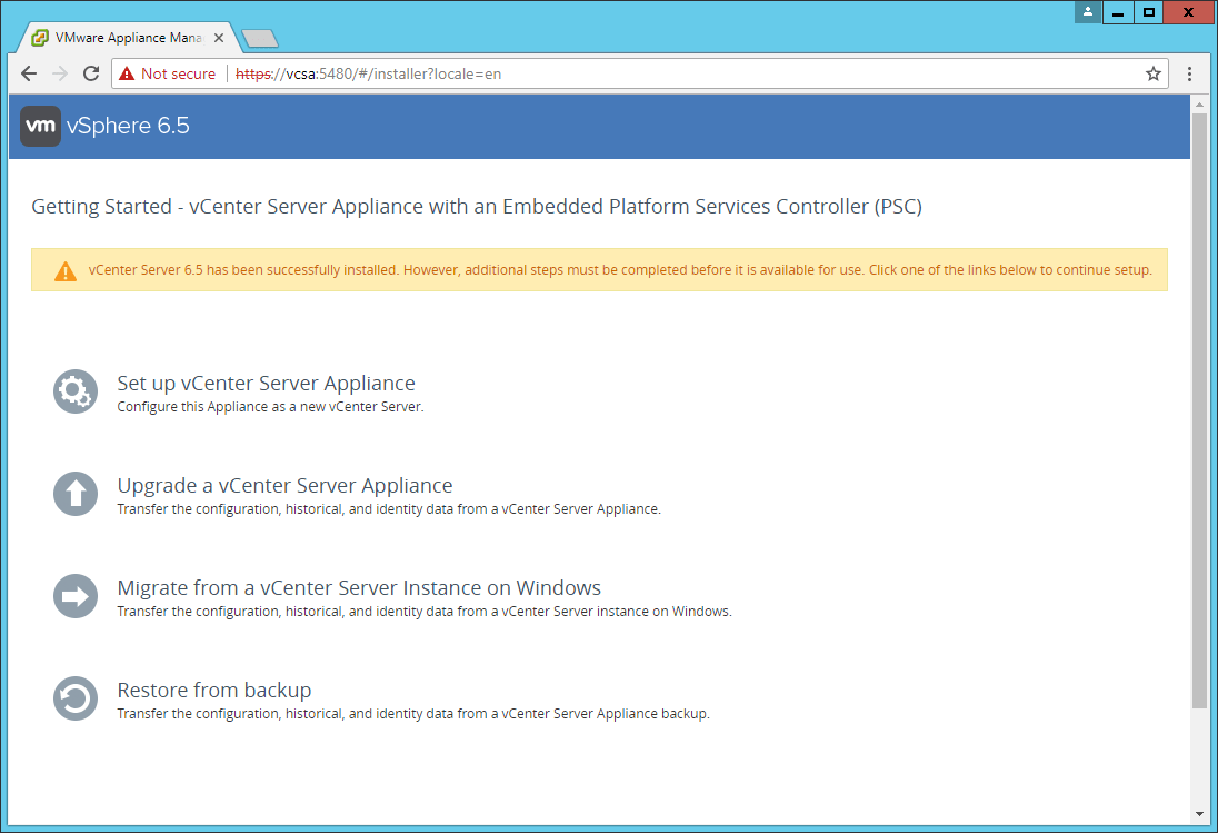domalab.com VCSA install stage 2 wizard