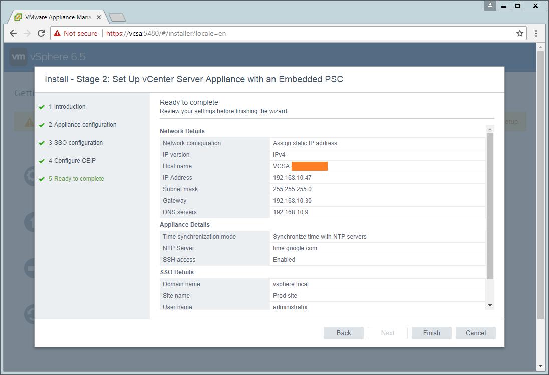 domalab.com VCSA install Stage 2 summary