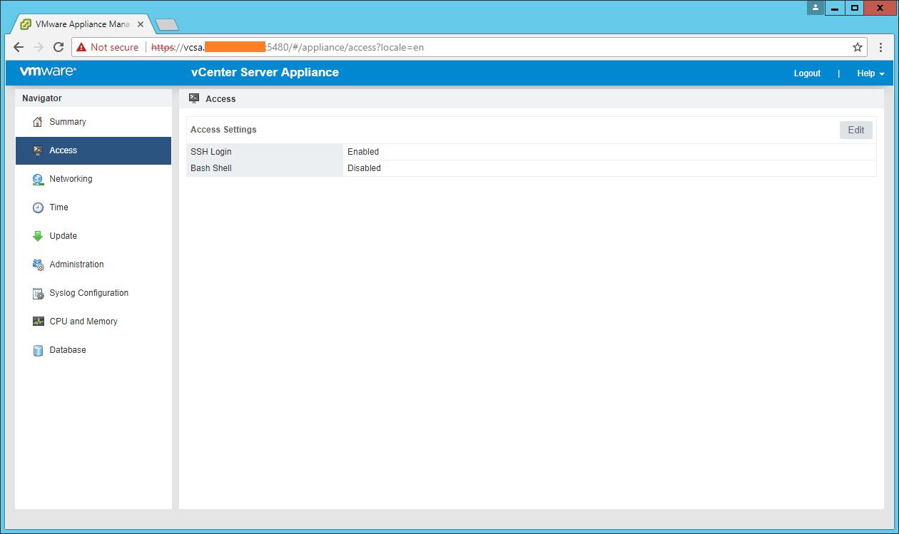 domalab.com VCSA configuration access