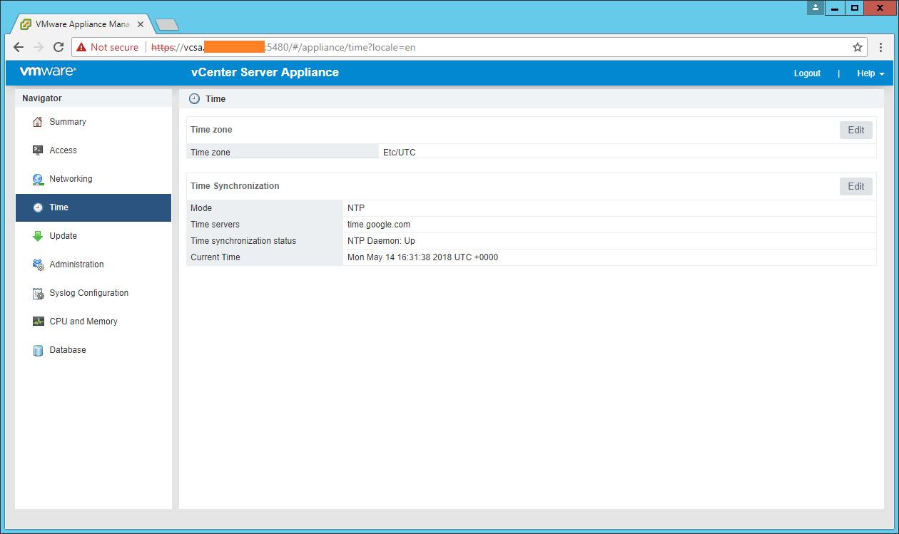domalab.com VCSA configuration NTP