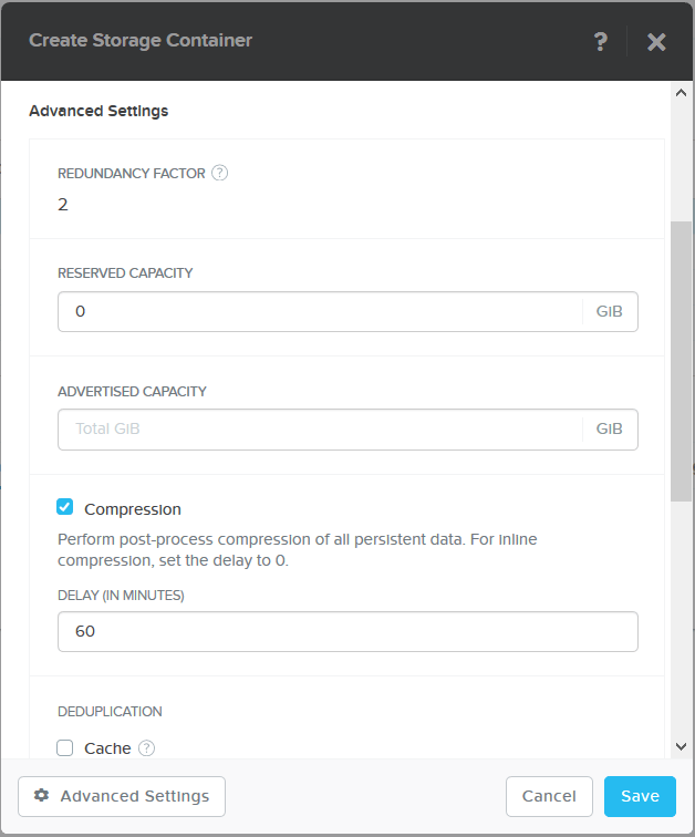domalab.com Create Nutanix Storage Container advanced settings