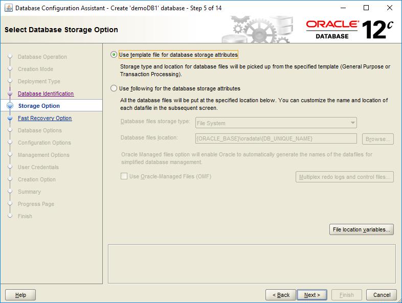 domalab.com create oracle database storage option