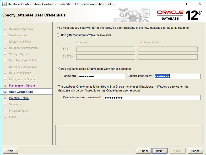domalab.com create oracle database user credentials